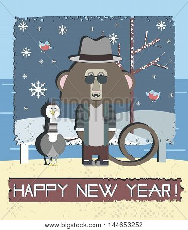 Stylish Happy New Year greeting card With Monkey and Gull bird. Vector illustration can be used for posters, baners and postcards.