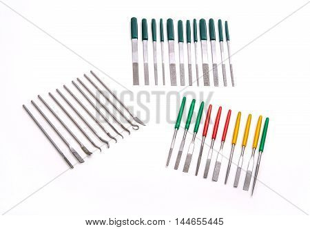 Stone Diamond Needle File Set Grinding Carving Craft Tool on White Background
