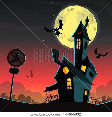 Halloween haunted house. Vector illustration of scary haunted house with full moon beghind and flying bats
