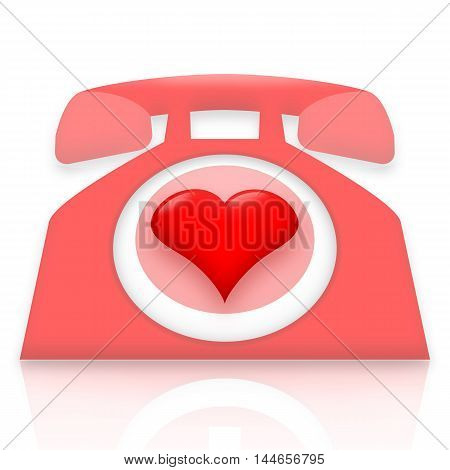 Romantic talking pink telephone with love heart instead of a ring dial