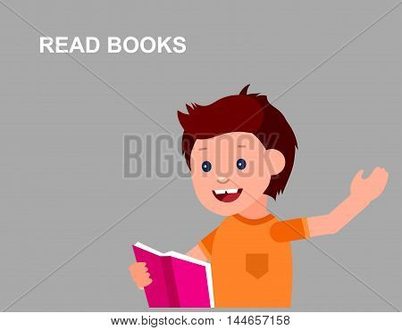 Cute vector character boy. Happy kid illustration reading book. Education and child development. Banner for the kindergarten or children club