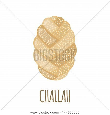 Challah icon in flat style isolated on white background. Bakery menu. Bread symbol. Vector illustration.
