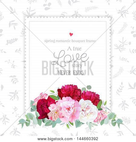 Luxury floral vector design square frame. Peony alstroemeria lily eucaliptus. Pink white and burgundy red flowers. All elements are isolated and editable.