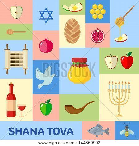 Rosh Hashanah greeting card in flat style. Shana Tova or Jewish New year symbols. Vector illustration.
