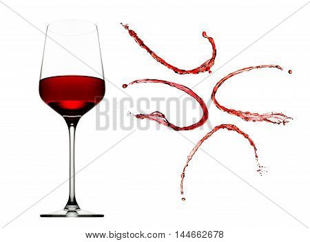 Red wine splashes with glass isolated on white background.