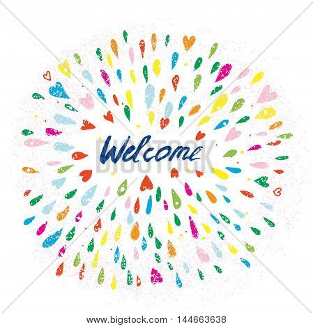 Welcome artistic banner with splashes and hearts handdrawn design of vector illustration