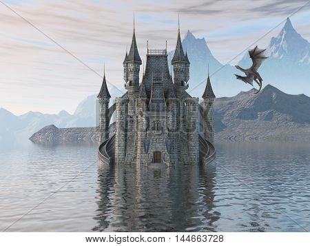 3d illustration fantasy landscape with a fairytale castle and a flying dragon