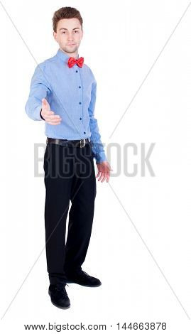 Referee suit and tie butterfly separates boxers. Proud businessman holds out his hand in greeting.