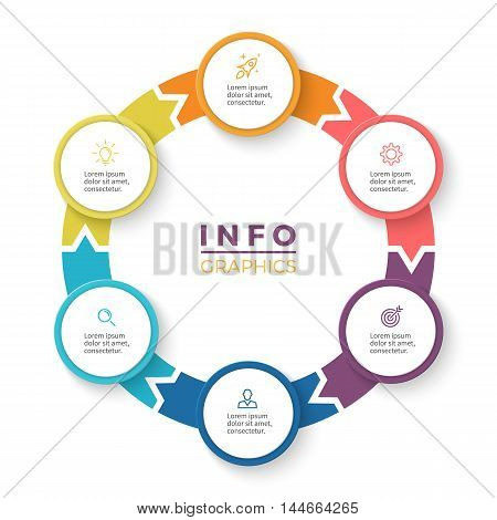 Circular arrows for infographics. Diagram with 6 steps, options, parts. Vector business template.