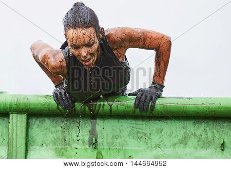 extreme race concept. Survival woman