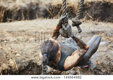 extreme race concept. Survival woman