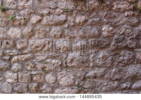 texture of old stone brickwork with small plants put down their roots into the interstices between the stones from time to time
