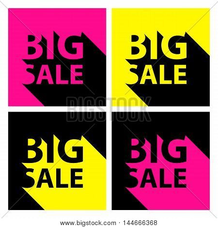 Set of bright Big Sale banners with long shadow for business, promotion and advertising. Vector illustration.