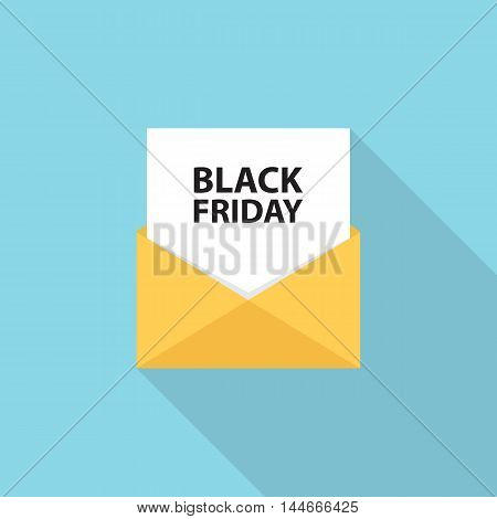 Black Friday sales letter, email or message with long shadow. Flat style vector Illustration.
