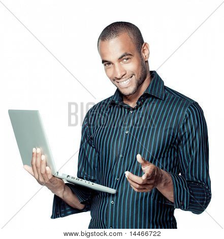 Happy black man with laptop