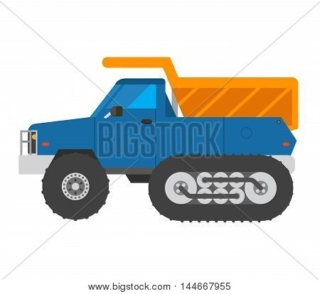 Tracked excavator vector illustration isolated on white background. Construction industry machinery caterpillar equipment tractor. Bulldozer vehicle transportation caterpillar equipment tractor.