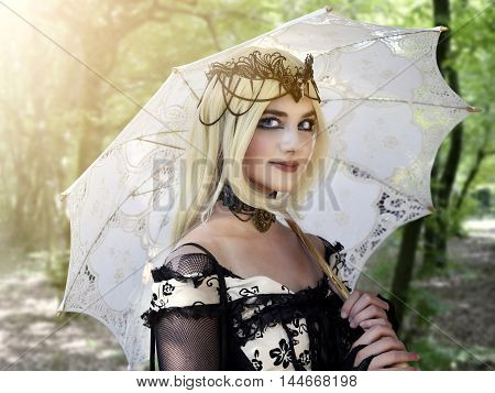 GRAZZANO VISCONTI, ITALY - AUGUST 27, 2016: beautiful cosplayer girl dressing steampunk costume during