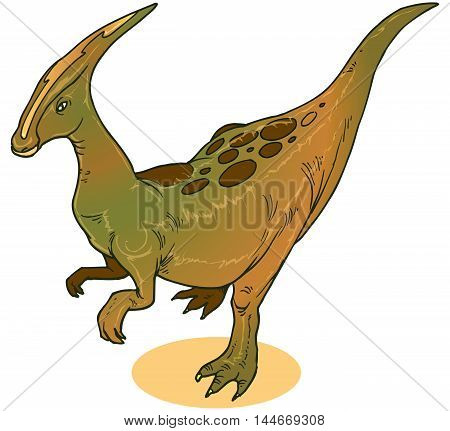 illustration of a Parasaurolophus. Dinasour  ever lived in what is now North America during the Late Cretaceous Period, about 75 million years ago. It was a herbivore that walked both as a biped and a quadruped.