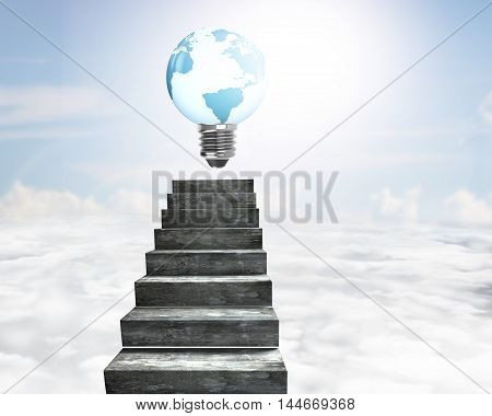 Light Bulb Of Globe Shape On Concrete Stairs