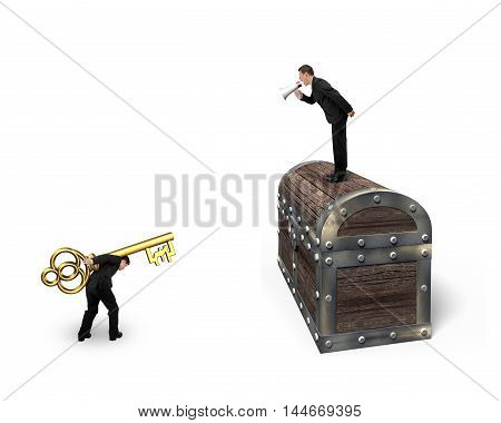 Man On Treasure Chest Command Employee Carrying Pound Symbol Key