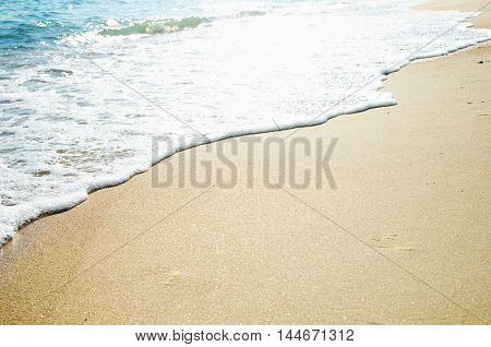 Wallpaper of sea landscape. Seacoast. Azure water and golden sand