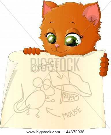 kitten who holds a poster scheme mouse trap