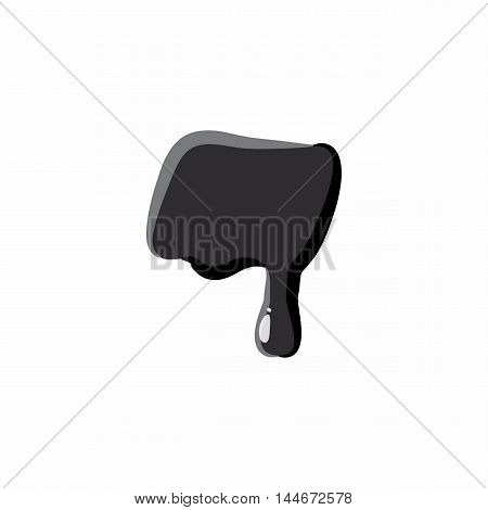 Dash punctuation mark isolated on white background. Black liquid oil dash vector illustration