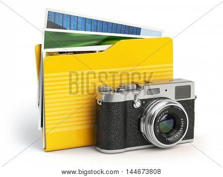 Photo album pc folder icon. Photo camera and folder isolated on white. 3d illustration