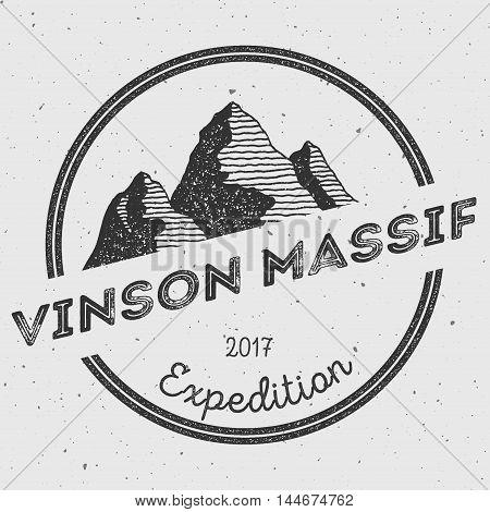 Vinson Massif In Sentinel Range, Antarctica Outdoor Adventure Logo. Round Expedition Vector Insignia