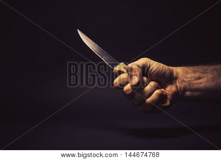 Male Hand Holding A Knife