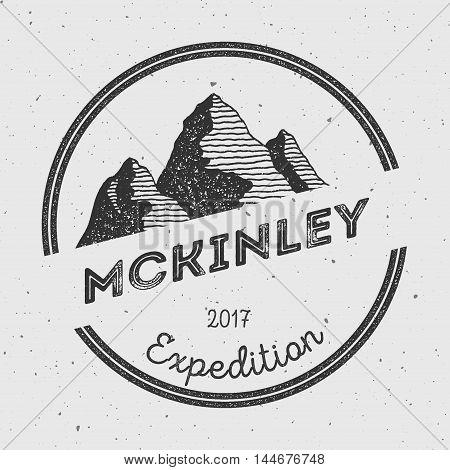 Mckinley In Alaska, Usa Outdoor Adventure Logo. Round Expedition Vector Insignia. Climbing, Trekking