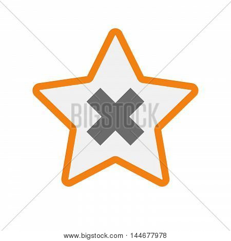 Isolated  Line Art Star Icon With An X Sign