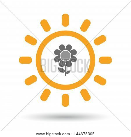 Isolated  Line Art Sun Icon With A Flower