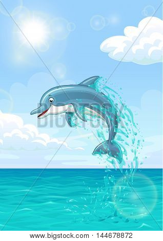 The dolphin who is jumping out of sea water of the ocean in splashes against the blue sky and the sun. Vertical landscape background of summer mood. Vector illustration.