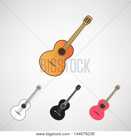 acoustic and electric guitars set. Vector illustration flat style