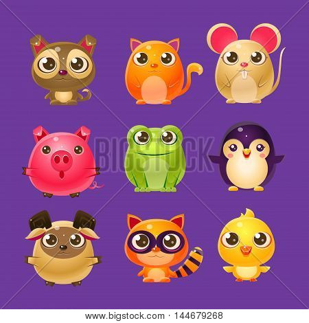 Adorable Baby Animals In Girly Design. Set Of Bright Color Vector Icons Isolated On Dark Background. Cute Childish Animal Characters Design.