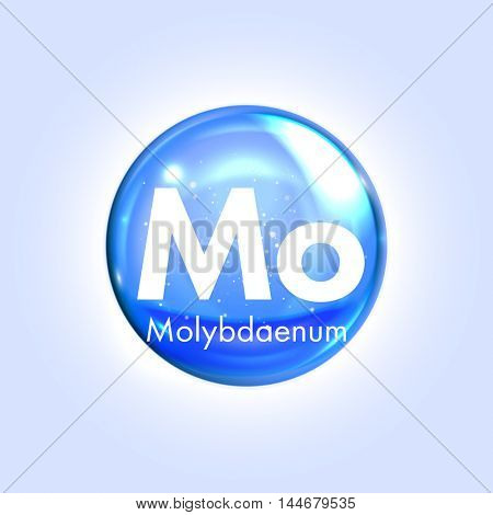 Molybdaenum mineral blue icon. Vector 3D glossy drop pill capsule  Molybdenum mineral and vitamin complex. Healthy life medical and dietary supplement
