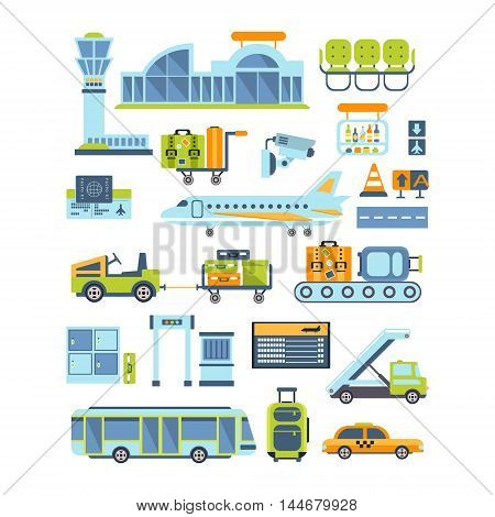 Airport Related Illustration Collection Of Simplified Flat Cartoon Style Vector Stickers Isolated On White Background