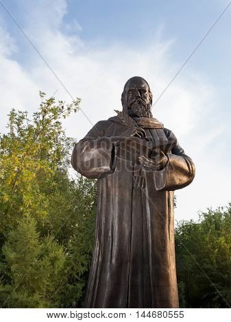 Astrakhan Russia - August 27 2016: First monument to Persian philosopher and poet Omar Khayyam Nishapuri in Russia.