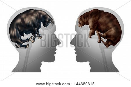Business market investing thinking and investor psychology as a symbol of advice to Buy or sell stocks as financial bulls and bears shaped as a human brain as a finance metaphor for investment idea with 3D illustration elements.