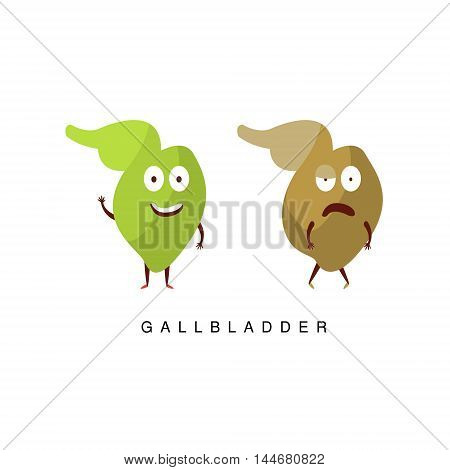 Healthy vs Unhealthy Gallbladder Infographic Illustration.Humanized Human Organs Childish Cartoon Characters On White Background