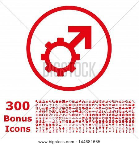 Technological Potence rounded icon with 300 bonus icons. Vector illustration style is flat iconic symbols, red color, white background.