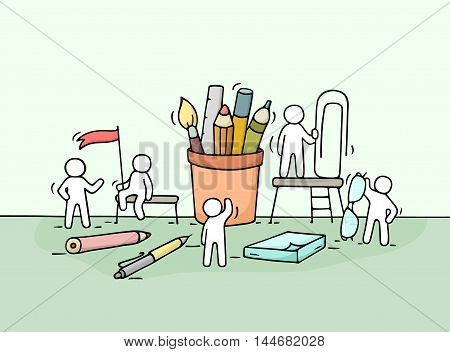 Sketch of working little people with office supplies. Doodle cute miniature scene of workers with stationery. Hand drawn cartoon vector illustration for business design.