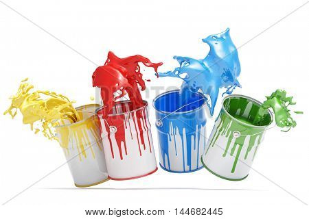 Four buckets with colors splashing isolated on a white background (3D Rendering)