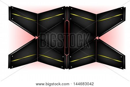 Wall of triangles, dark quadrangle  - vector illustration
