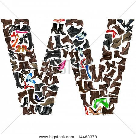 Font made of hundreds of shoes - Letter W poster