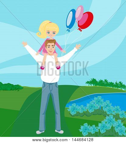 Father Carrying Daughter On His Shoulders , vector illustration