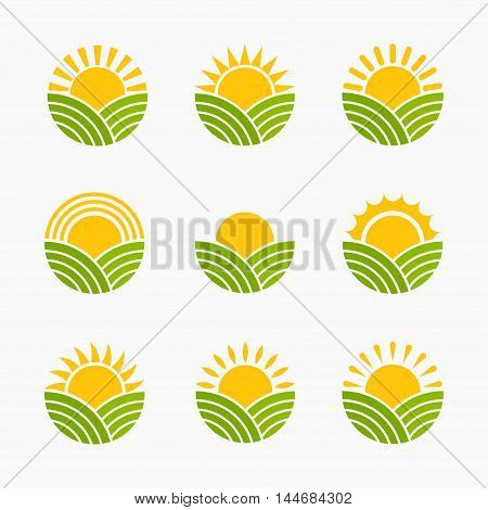 Sunrise or sunset vector set of icons  isolated from the background. The sun rises or take over a field meadow or hill. Concept logo for eco organic and natural food.