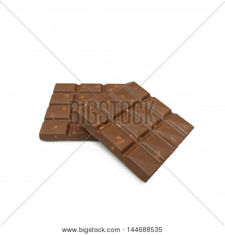Chocolate Bars With Almonds Nuts Lying On White Background