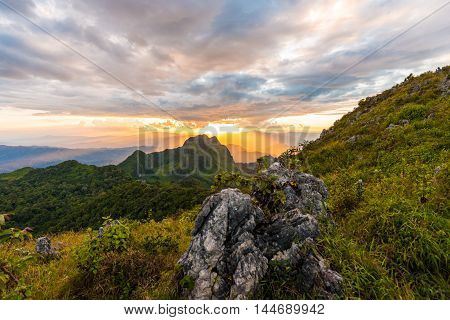 Rocky Peaks Green Forest Sub Alpine Mountain